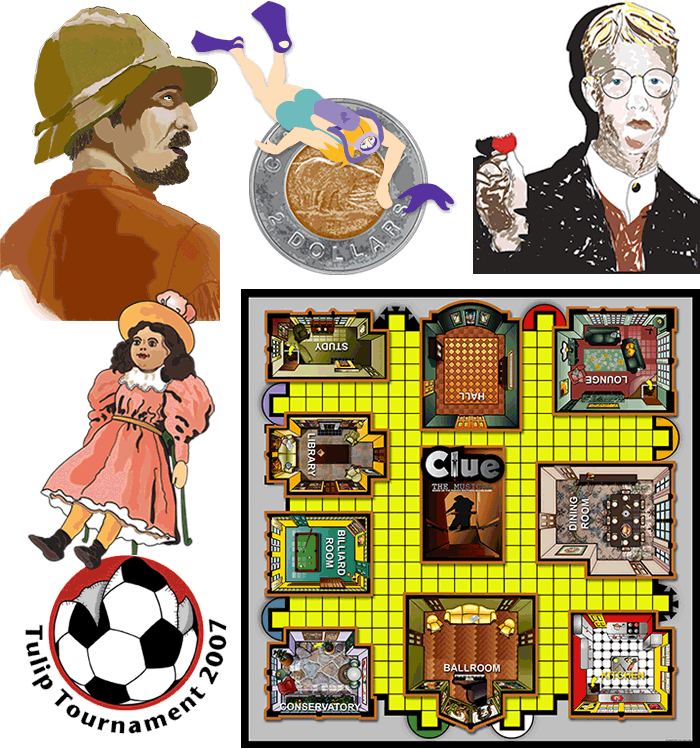 Clue Board and whimsey art