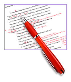 manuscript with red pen