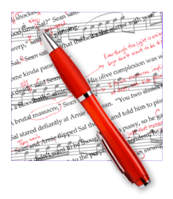 Sheet Music with Red Pen