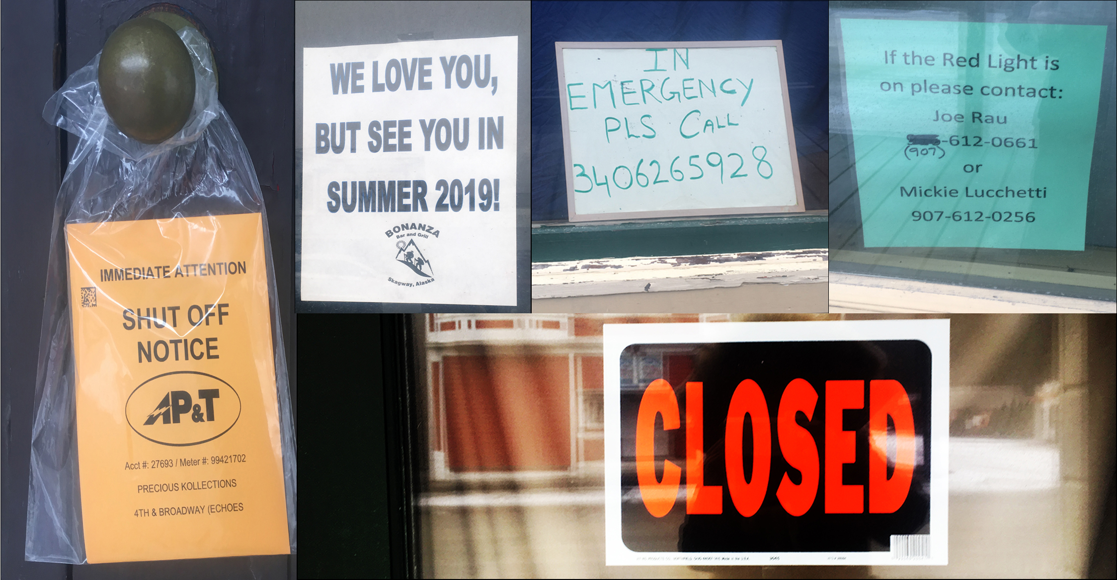 Closed Signs on Skagway's Downtown Stores