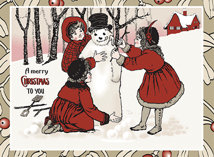 Vintage Christmas Card: Girls Making Snowman